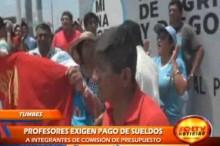 Los docentes afiliados al SUTEP protagonizaron una inusual protesta