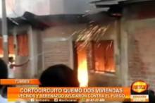 Tumbes: Un incendio deja a dos familias en la calle